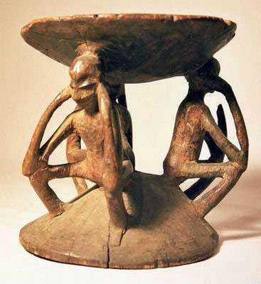 Stool. Pende people, Democratic Republic of the Congo. ca. late 19th century-early 20th century. Wood. H: 23.5 cm; Diam: 23.5 cm. Gift of Mr. and Mrs. David Heller, Woodmere, New York, to American Friends of the Israel Museum (#B82.0254). Image courtesy of The Israel Museum.