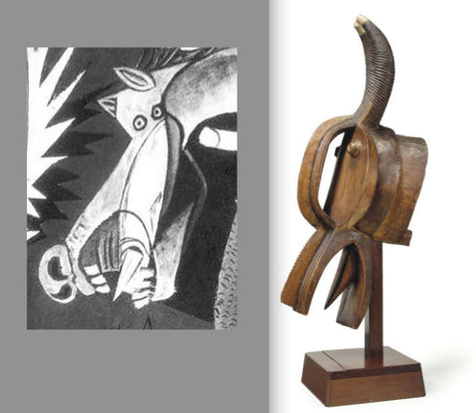 "Left a detail of Picasso's ""Guernica"" (1937) with the head reminiscent of the Baule mask on the right."