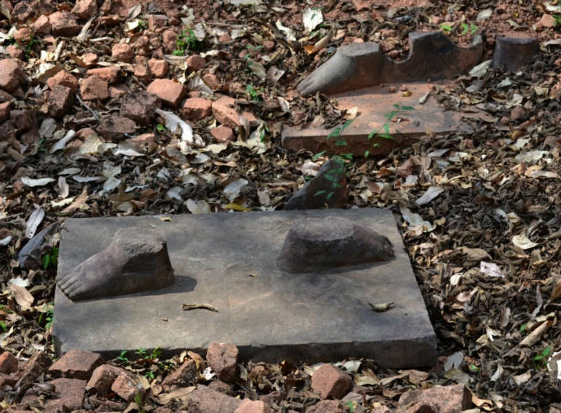 What looting looks like: feet of Sotheby's pillaged statue are still at the site of Koh Ker, Cambodia.