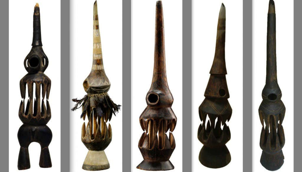 From left to right: MAS - Antwerp (AE.1956.00024), MRAC - Tervuren (EO.0.0.35476), Private Collection, MRAC - Tervuren, MRAC - Tervuren. All MRAC aerophones collected in the Batangi Chiefdom (Nande), by A. Jacob, before 1934 and donated to the MRAC in April 1934 by R. Hoffmann.
