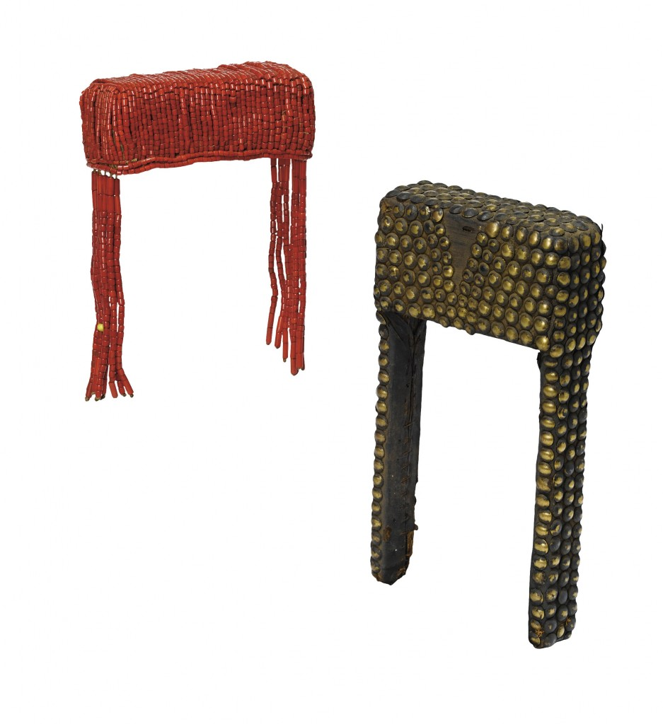 Two Kutu headdresses. Height: 18 & 24 cm. Image courtesy of Sotheby's (Sotheby's, Paris, 10 September 2007. Lot 77A & 77B).