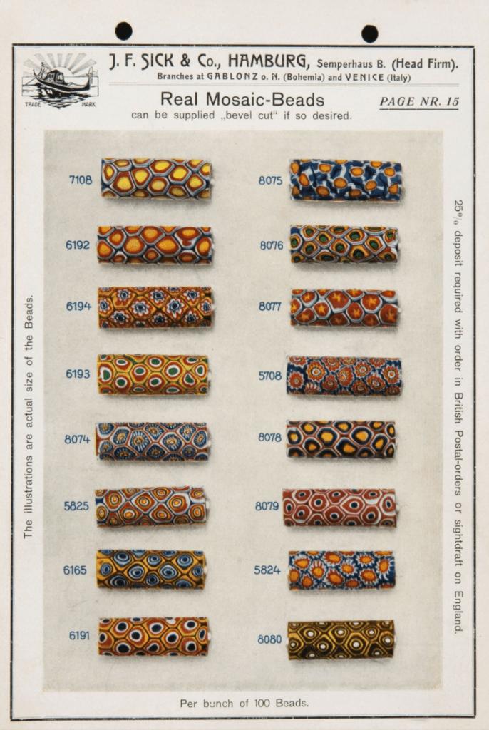 J.F. Sick & Co trade beads