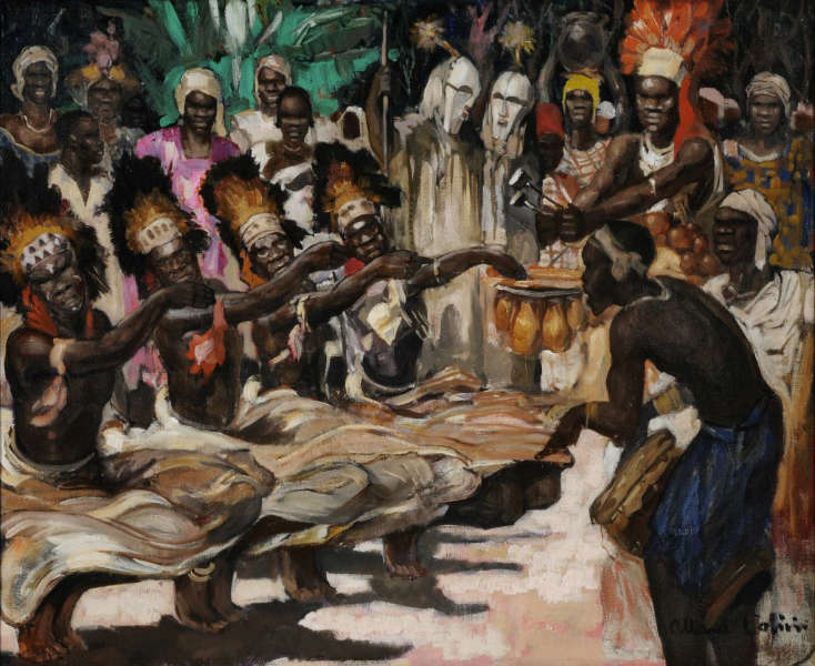 Kifwebe dancers masks Ferand Allard lOlivier 1024x837 Painting of the day: Katompe by Fernand Allard dOlivier
