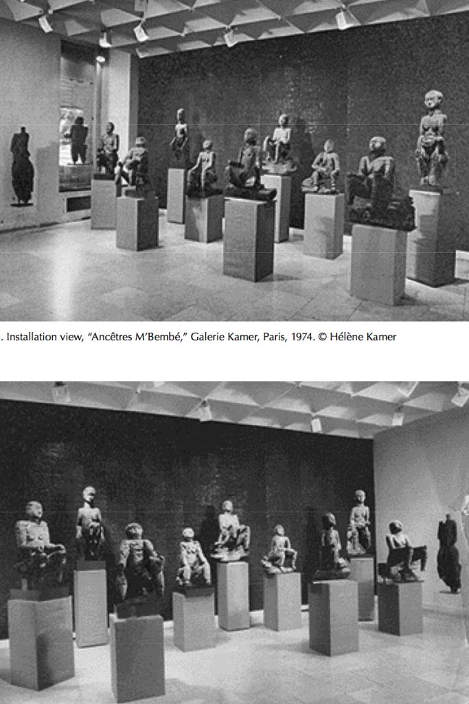Installation view Ancêtres M'bembé galerie Kamer, paris, 1974 Mbembe
