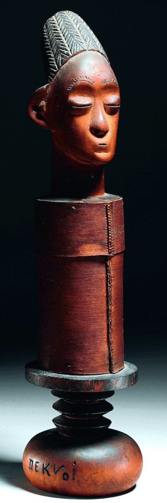 "Mangbetu or Zande bark box. Height: 52,5 cm. Collection Minneapolis Institute of Arts. The base incised with the artits's name ""Songo Dekvoi"". Reportedly collected before 1911 in Rungu Village, Uele Region. Acquired at Sotheby's, New York, ""The William W.Brill Collection of African Art"", 17 November 2006. Lot Lot 115. (sold for $60.000). Image courtesy of Sotheby's."