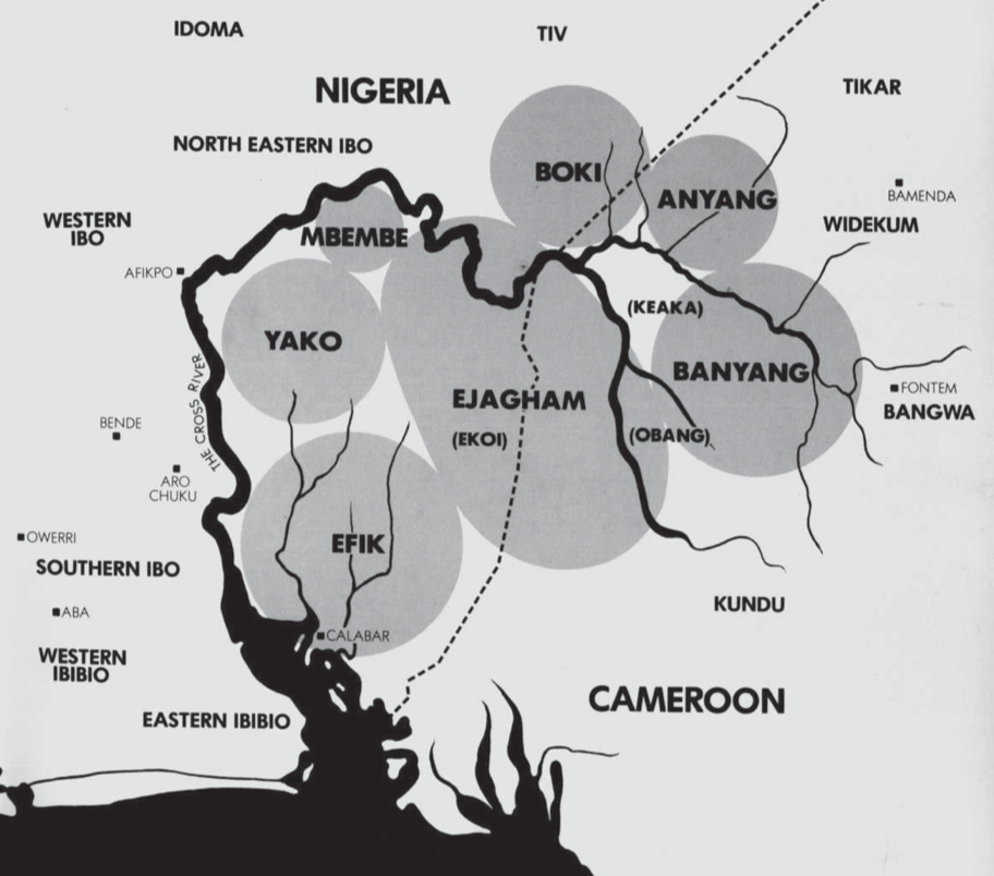 Map from Blier (S.P.), Africa ́s Cross River. Art of the Nigerian-Cameroon Border Redefined, L. Kahan Gallery, New York, 1980: p. 3.