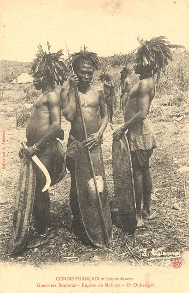 Jean Audema postcard Ubangi warriors