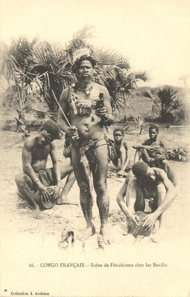 Jean Audema postcard Vili diviner Kongo