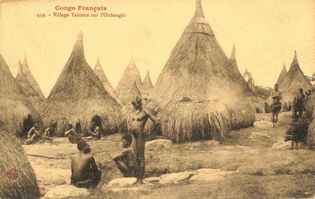 Jean Audema postcard Yakoma village Congo