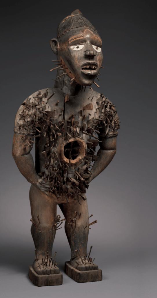 Kongo nkisi nkondi power figure (mangaaka).  Height: 118 cm. Image courtesy of the Metropolitan Museum of Art (2008.30).