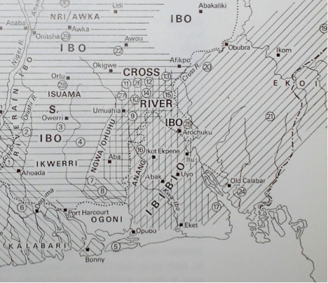 "Map from Jones (Gwilym Iwan), ""The art of Eastern Nigeria"", Cambridge: Cambridge University Press, 1984."