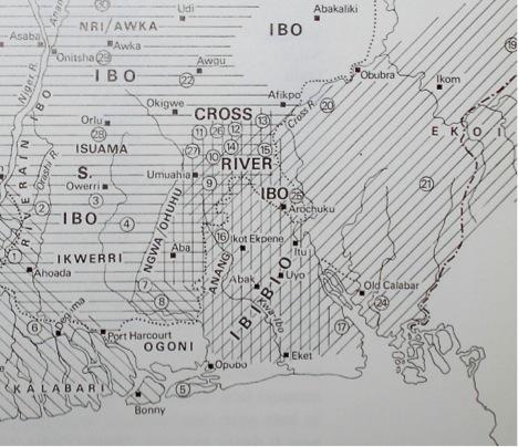 Igbo map G.I. Jones Field photo of the day: an okoroshi masquerade among the Usuama Igbo